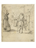 Album Dummy: Male Back on a Donkey, Woman and Child Giclee Print by Augustin De Saint-aubin