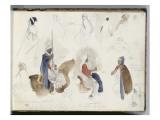 Album du voyage en Afrique du Nord : étude de cavaliers et de personnages arabes Giclee Print by Eugene Delacroix