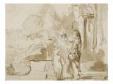 Abraham renvoyant Agar et Ismaël Lámina giclée por  Rembrandt van Rijn