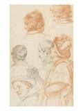 Un homme debout et cinq têtes d'hommes de profil ou de dos Giclee Print by Matteo Rosselli