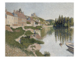 Les Andelys, la berge Gicléetryck av Paul Signac