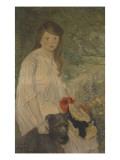 Colette sur fond de jardin (1888-1969), fille de l'artiste Giclee Print by Théophile Alexandre Steinlen