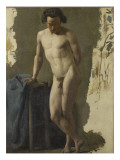 Academy of Man Standing in Front, Resting on a Stool Giclee Print by Jean Jacques Henner