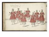 """Album ; Ballet de la Douairière de Billebahaut ; """"Entrée des Sultanes """"; huit figures de femmes Giclee Print by Daniel Rabel"""