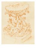 Une fontaine : trois amours, sur des tritons, soutenant une coquille Giclée-tryk af Alessandro Algardi