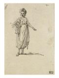 Album factice : Femme en pied tenant un panier de fleurs Reproduction procédé giclée par Augustin De Saint-aubin