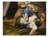 Combat de David et Goliath Giclée-tryk af Daniele Da Volterra