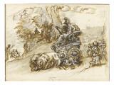 Une femme guerrière dans un char trainé par deux lions Giclée-tryk af Alessandro Algardi
