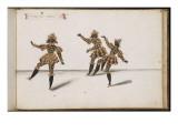 """Album ; Ballet du Chasteau de Bicêtre () ; """" Entrée des Diables""""; trois figures Giclee Print by Daniel Rabel"""