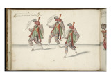 """Album ; Ballet de la Douairière de Billebahaut ; """"Entrée des Docteurs Perciens""""; trois figures Giclee Print by Daniel Rabel"""
