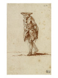 Album Dummy: Old Man Wearing a Cocked Hat, Marching Giclee Print by Augustin De Saint-aubin