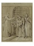 Convulsionnaires et miraculés de Saint-Médard : la dame Stapart, guérison Giclee Print by Jean Restout