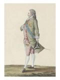 Costume de l'époque de Louis XVI, seigneur de la cour portant un habit de Printemps Giclée-Druck von Etienne Claude Voysard