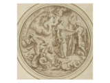 Drawing for a Dish: Mythological and Marine Animals Giclee Print by Perino Del Vaga