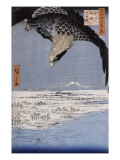 Aigle au-dessus des champs de Susaki &#224; Fukagawa Reproduction proc&#233;d&#233; gicl&#233;e par Ando Hiroshige