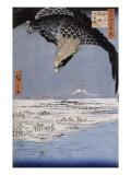 Aigle au-dessus des champs de Susaki à Fukagawa Giclée-Druck von Ando Hiroshige