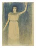 Femme vue en pied, debout, le bras gauche tendu vers le haut Giclee Print by Théophile Alexandre Steinlen