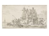 Construction de vieilles maisons Giclée-Druck von Jan Van Goyen
