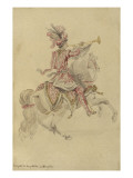 Costume de Carrousel : projet pour celui d'un cavalier, Trompette de la quadrille du Dauphin Giclee Print by Jean I Berain