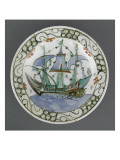 Dish Decorated Ship with Three Masts and Sails Blue Giclee Print