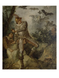 Don Quixote and the Birds to the Cave of Montesinos Giclee Print by Charles Joseph Natoire