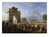 Entrée de la Grande Armée à Paris par la barrière de la  Villette, 25 novembre 1807 Giclée-tryk af Nicolas Antoine Taunay