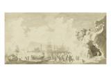 Danse autour d'un feu de joie près d'un port Giclée-Druck von Pierre Jacques Volaire