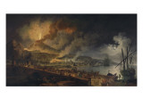 Eruption du V&#233;suve et vue de Portici Gicl&#233;e-Druck von Pierre Jacques Volaire
