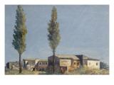 Fabriques à la villa Farnèse : les deux peupliers Giclée-Druck von Pierre Henri de Valenciennes
