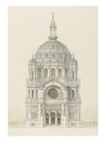 Eglise Saint-Augustin (Paris): Main Facade Elevation Giclée-tryk af Victor Baltard