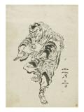 Danseur de Shishi-mai (danse du lion) Giclée-Druck von Katsushika Hokusai