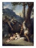 Faustulus recueillant Romulus et Rémus Giclée-Druck von Nicolas Vleughels