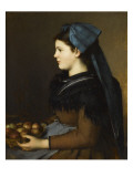 Eugenie Henner in Alsace, Holding a Basket of Apples Giclee Print by Jean Jacques Henner
