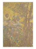 Décoration Domecy : arbres sur fond jaune Giclee Print by Odilon Redon