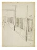 Corridor avec sur le côté des chambres aux murs avec des barreaux Giclee Print by Théophile Alexandre Steinlen