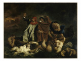 Dante et Virgile aux enfers dit aussi : La barque de Dante Giclee Print by Eugene Delacroix