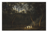 Dance of the Natives of Van Diemen's Land, Moonlight Giclee Print by John Glover