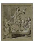 Convulsionnaires et miraculés de Saint-Médard : D.A de Palacios, guérison Giclee Print by Jean Restout
