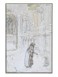 Le Rêve : Enfant abandonné et personnage sous la neige prés d'une église Giclee Print by Carlos Schwabe