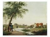 Vaches à l'abreuvoir Giclée-Druck von Jacobus Vrymoet