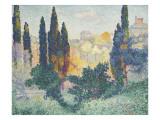 Les cyprès à Cagnes Giclee Print by Henri Edmond Cross