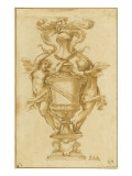 Decorative Vase with the Arms of Albergati Bologna Giclée-tryk af Alessandro Algardi