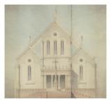 Projet d'église : façade principale, élévation Giclée-Druck von Marcellin Varcollier
