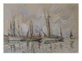Bateaux de pêche dans le port de Lorient Giclée-tryk af Paul Signac