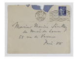 Envelope of Paul's Letter to Maurice Jamot Serullaz Giclee Print