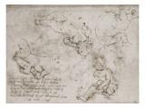 Quatre enfants nus et notes manuscrites Giclée-Druck von Andrea del Verrocchio