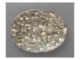 Plat ovaà bord ondulé, couleuvres, tortue, lézards, grenouil, poissons, étrilet coquillages Giclée-tryk af Bernard Palissy