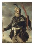 Figure de guerrier oriental tenant un arc Lámina giclée por Pier Francesco Mola