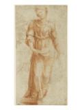 Figure féminne debout, se dirigeant vers la droite Giclée-tryk af Domenico Beccafumi