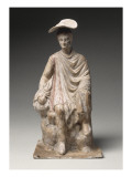 Figurine: Young Boy Wearing a Cloak Sitting on a Rock Giclee Print